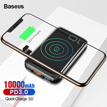 Baseus 10000mAh PD Quick Charge 3.0 Mini Power Bank Portable Qi Wireless Charger Powerbank For iPhone 11 Xiaomi External Battery