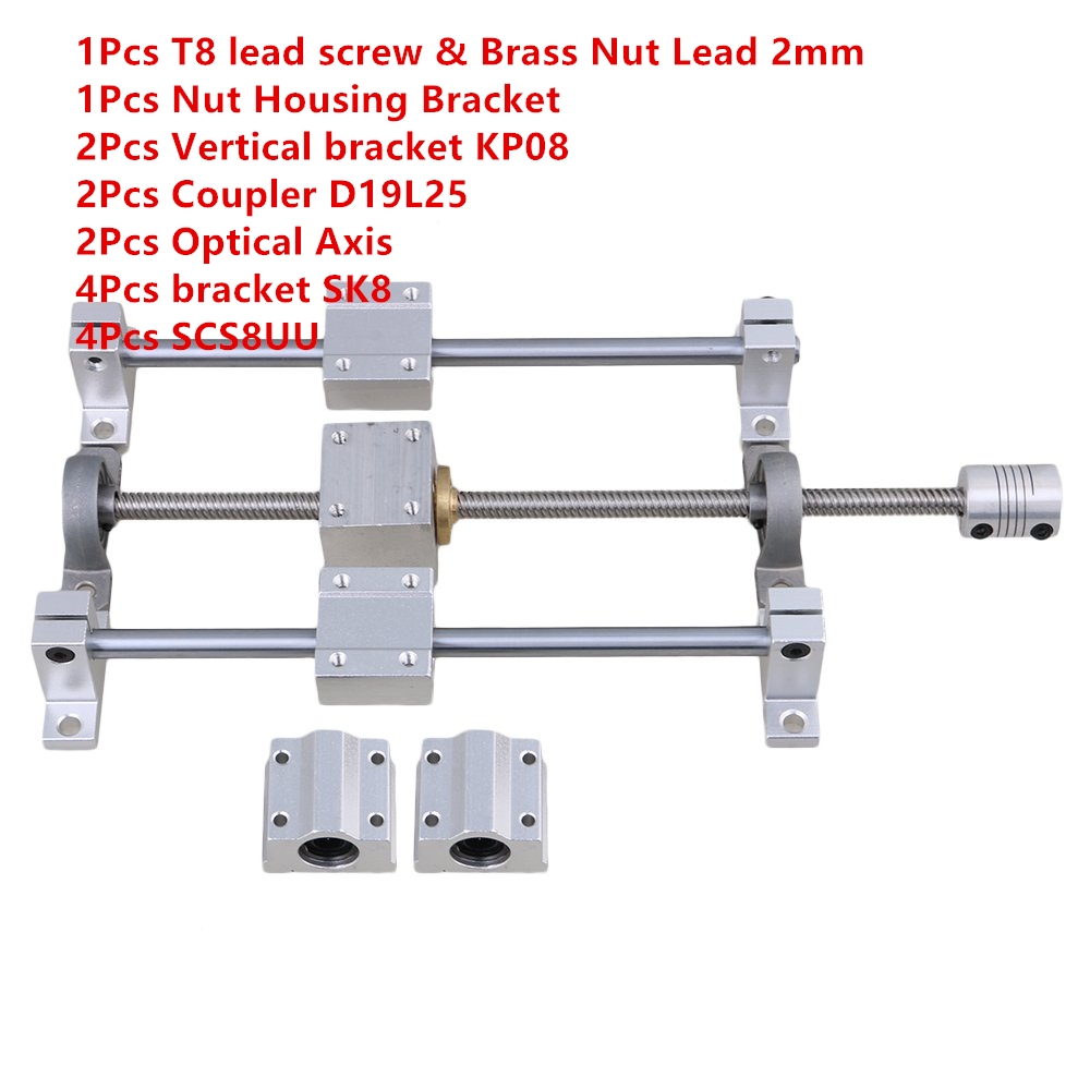 D19L25 Shaft Coupling bearing block 8mm 450mm T8 Lead Screw Set /& Brass Nut