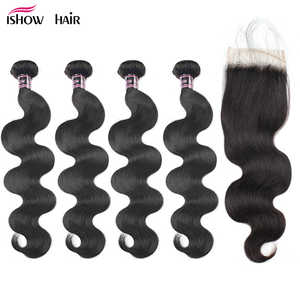 Ishow Peruvian Body Wave 4 Bundles With Lace Closure Free Middle Three Part Non Remy Human Hair Bundles With Closure Baby Hair