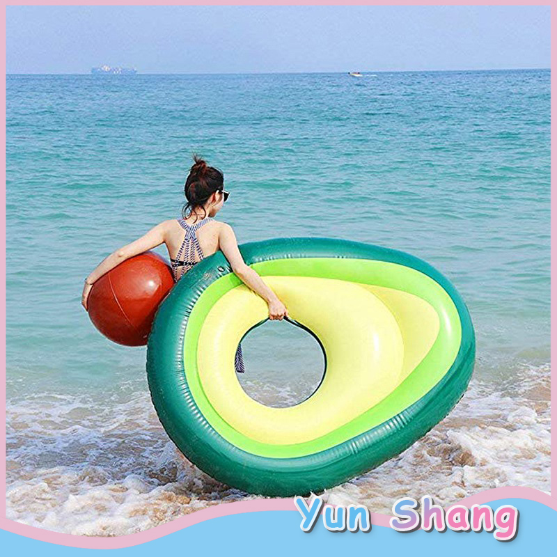 Inflatable Avocado Floating Row Avocado Lounger Gaint Pool Float With Ball Swimming Floaty Raft Beach Toy For Adults & Children