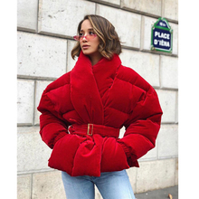 2019 Velour Cotton Padded Coat Short Warm Jacket Winter High Quality Red Thick Belt Lace Up Women Clothing PIus Size