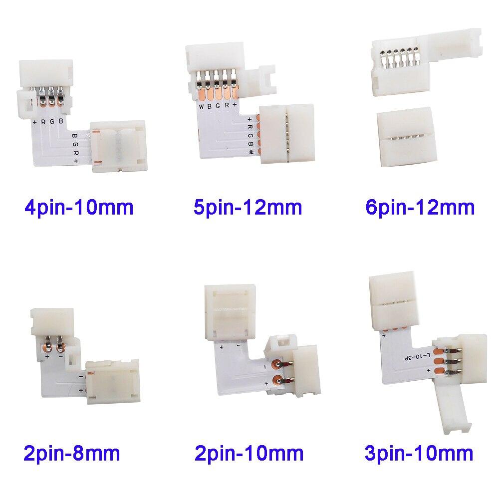 5 ~ 500set forma de L 2pin 3pin 4pin 5pin 6pin conector LED para codo de conexión ángulo recto 5050 RGB RGBW 3528 ws2812 tira LED