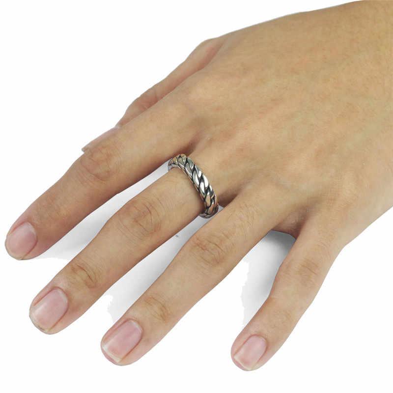 Скрученные кубинские кольца-цепочки, регулируемые кольца из розового золота и нержавеющей стали, свадебные хип-хоп вечерние ювелирные изделия