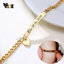 Vnox-pulsera personalizada con nombre del bebé, cadena de acero inoxidable antialergia ajustable, regalos de bautismo para niños y niñas