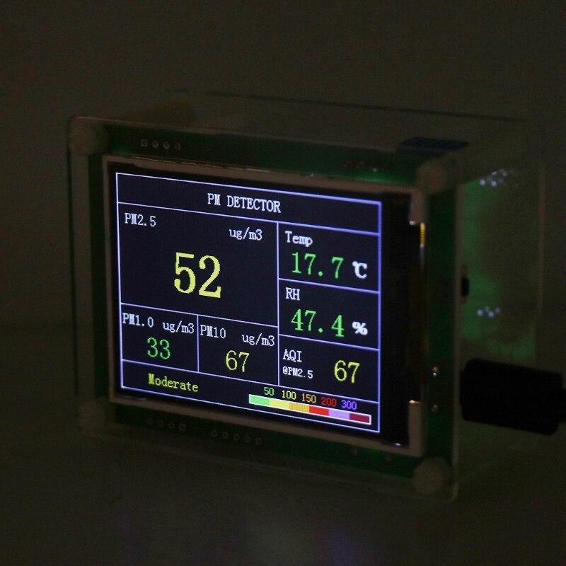 Pm2.5 carro detector testador medidor de qualidade do ar pm1.0 pm10 monitor lcd casa gás termômetro temperatura umidade medidor|Analisadores de gás|   -