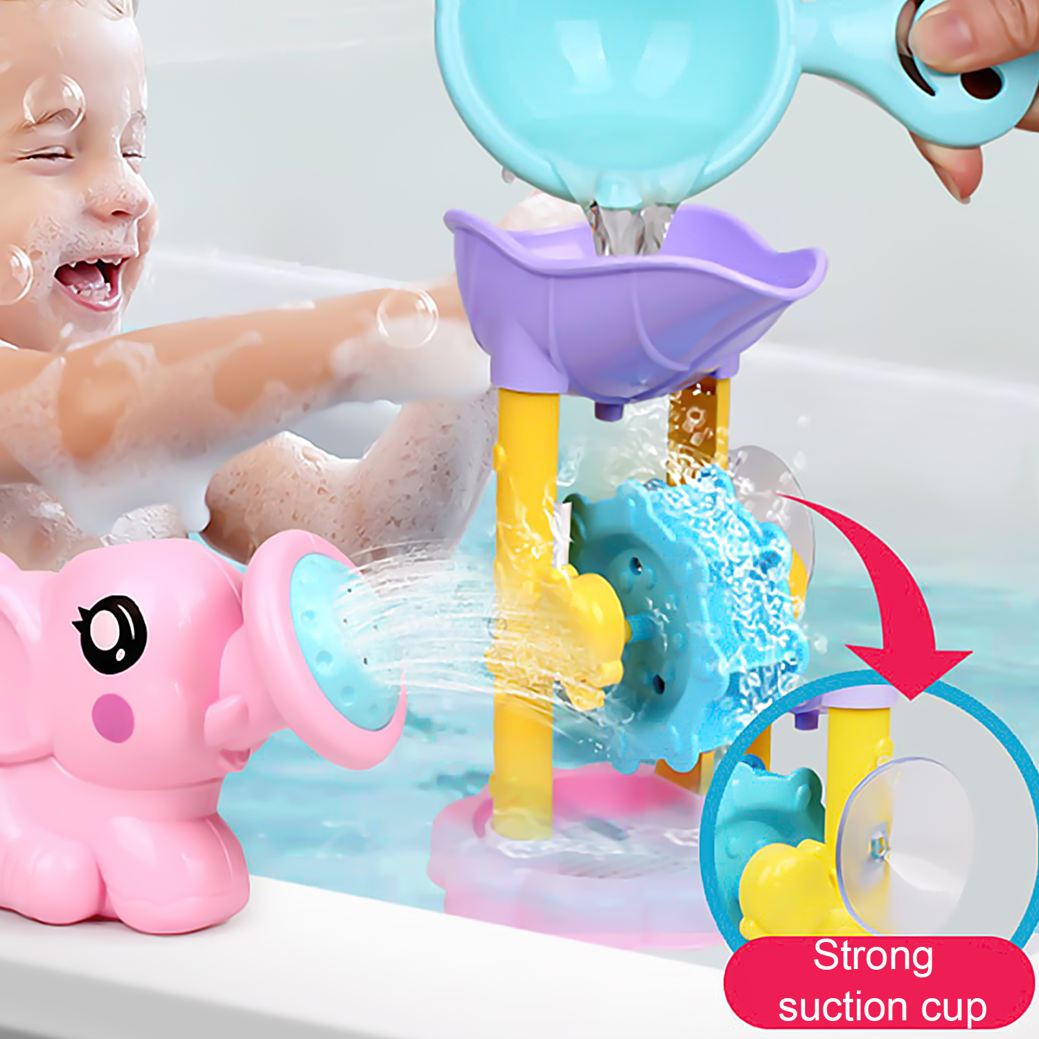 Waterwheel Bath Toys Set With Watering Can Spoon For Kids Bathroom Game Random Color Parent-child Interactive Shower Water Toys