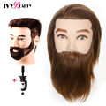 Männlichen Mannequin Kopf Mit 100% Menschliches Haar Kosmetik Puppe Männlichen Mannequin Kopf Bart für Barber Geschäfte Praxis Schneiden Styling