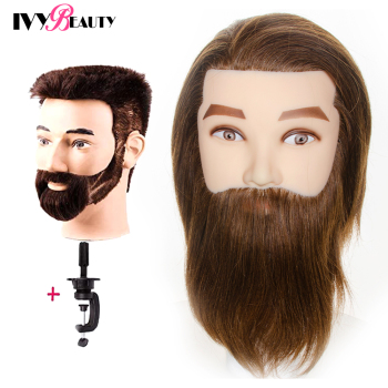 Male Mannequin Head With 100% Human Hair Cosmetology Manikin Male Mannequin Head Beard for Barber Shops Practice Cutting Styling advanced full function nursing manikin male bix h135 w189
