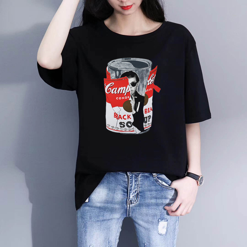 Andy Warhol Big Torn Campbell's Soup Can Print Women Tshirt Casual Funny T Shirts Short Sleeve Women Tumblr Streetwear(China)