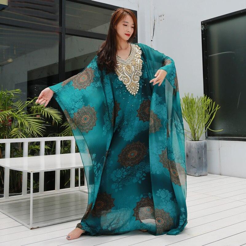 Women Belly Dance Clothes Kaftan Dress Chiffon Tie-dyed Pattern Khaleegy Dress Abaya Kaftan Jalabiya Dress