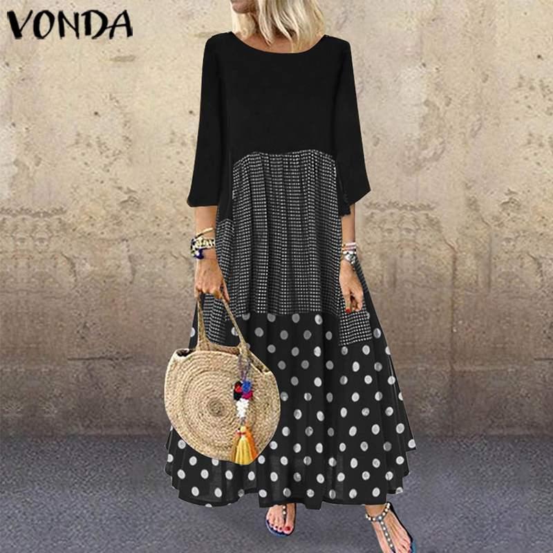 VONDA Bohemian Dress Women Beach Patchwork Maxi Long Dress 2019 Spring Causal Sundress Vintage Half Sleeve Vestidos Plus Size