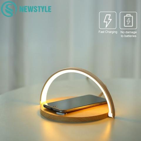 10 w qi carregador sem fio rapido lampada de mesa noite para o iphone x