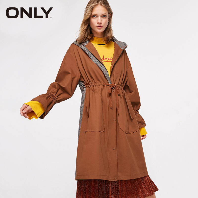 ONLY Women Loose Hooded Coat Autumn Trench Coat | 118336580