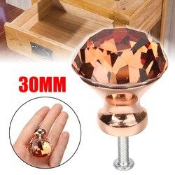 1 pçs 30mm cor única k9 cristal diamante botões rosa ouro armário gaveta botão da porta suprimentos de móveis