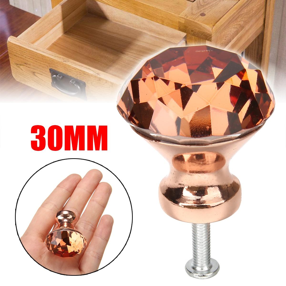 1pcs 30mm Unique Color K9 Crystal Diamond Knobs Rose Gold Cabinet Drawer Door Knob Furniture Supplies