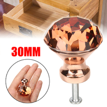 Купить с кэшбэком 1pcs 30mm Unique Color K9 Crystal Diamond Knobs Rose Gold Cabinet Drawer Door Knob Furniture Supplies