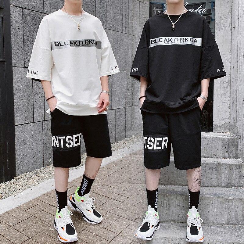 Hong Kong Style 2019 Summer Trend Men Short Sleeve T-shirt Suit Casual Sports Shorts Two-Piece Set Men's Couple Clothes