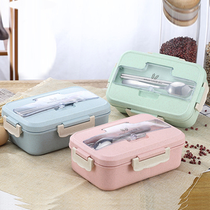 Microwave Lunch Box Wheat Straw Dinnerware with Spoon Chopsticks Food Storage Container Children Kids School Office Bento Box
