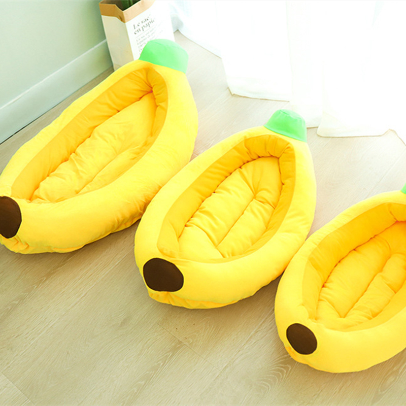 Funny Banana Shape Pet Dog Cat Bed House Plush Soft Cushion Warm Durable Portable Pet Basket Kennel Cats Accessories 7