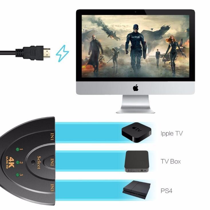 Image 5 - 4 K * 2 K 3D Mini 3 Port interruptor HDMI 1.4b 4 K conmutador HDMI Splitter 1080 P 3 en 1 puerto Hub para DVD HDTV Xbox PS3 PS4-in Computer Cables & Connectors from Computer & Office