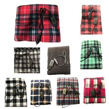 60W Winter Cold Weather Electric 12V Plaid/Stripe Heated Blanket for Car Trucks Universal Car Accessories Interior 110cm x 150cm