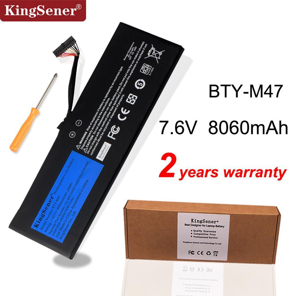 KingSener New BTY-M47 Laptop Battery For MSI GS40 GS43 GS43VR 6RE GS40 6QE 2ICP5/73/95-2 MS-14A3 MS-14A1 7.6V 8060mAh/61.25WH