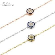 KALETINE Genuine 925 Sterling Silver Bracelets For Women Blue CZ Turkish Evil Eye Bracelet Gold Jewelry 2018 Fashion KLTB008