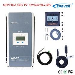 MPPT 80A regulator ładowania słonecznego 48 V/36 V/24 V/12 V ujemny akumulator uziemiający Max 200V PV VOC kontroler ładowania słonecznego z wyświetlaczem LCD w Kontrolery słoneczne od Majsterkowanie na