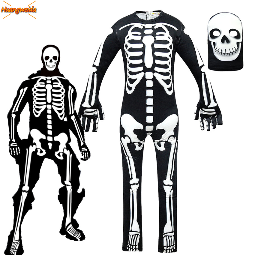 DJ Ghost Skull  Cosplay Costumes Boys Jumpsuit Party Skeleton Costume Kids Party Fancy Dress Children Halloween DJ Props Mask
