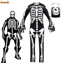 Crânio fantasma trajes cosplay meninos macacão festa esqueleto traje crianças festa fantasia vestido crianças máscara de halloween