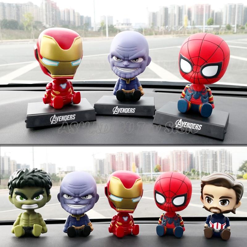 Car Decoration Shaking Head Action Figure Cute Cartoon Avengers Marvel  Statue Doll Car Accessories Iron Spider Man Thanos Toys