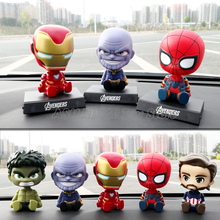 Car Decoration Shaking Head Action Figure Cute Cartoon Avengers Marvel  Statue Doll Car Accessories Iron Spider Man Thanos Toys