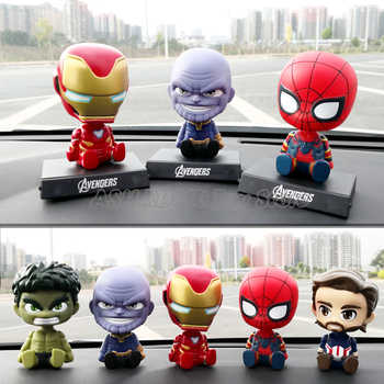 Car Decoration Shaking Head Action Figure Cute Cartoon Avengers Marvel  Statue Doll Car Accessories Iron Spider Man Thanos Toys - DISCOUNT ITEM  57% OFF All Category