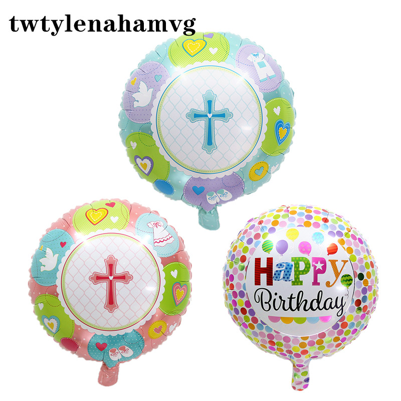 <font><b>18</b></font> inch new baby <font><b>happy</b></font> <font><b>birthday</b></font> color aluminum foil party decoration balloon children's toy mother's day anniversary DIY gift image