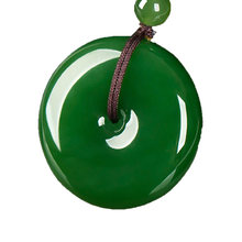 Green Nephrite Pendant fashion Flat Round Circle Donut Peace Natural Real Jades Stones Pendant for Necklace(China)