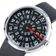 Новинка, мужские и женские кварцевые наручные часы с поворотным циферблатом и цифрами, аналоговые модные черные часы с кожаным ремешком, лучшие подарки, Relogio Masculino