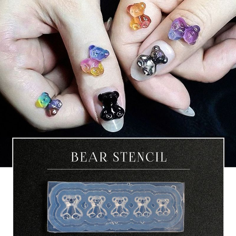 Silicone Mini Gummy Bear Mold Nail Art Resin Casting Mould Template Bear Silicone Resin Mold Jewelry Tools Art Crafts