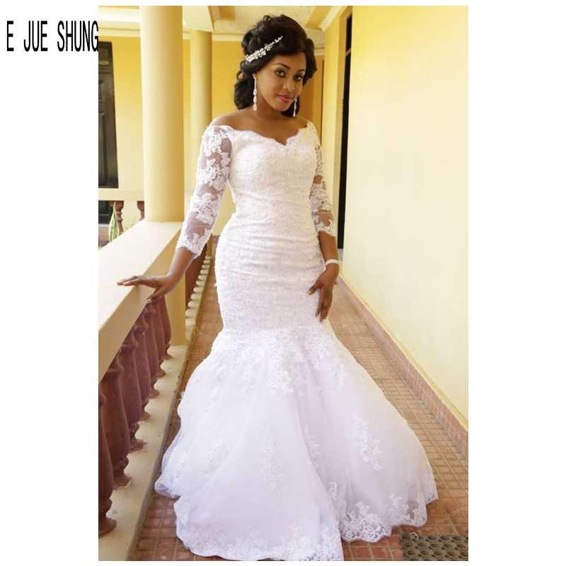 E JUE SHUNG Vintage African Mermaid Wedding Dresses Illusion Long Sleeve V Neck Lace Appliques Wedding Gowns Vestidos De Novia
