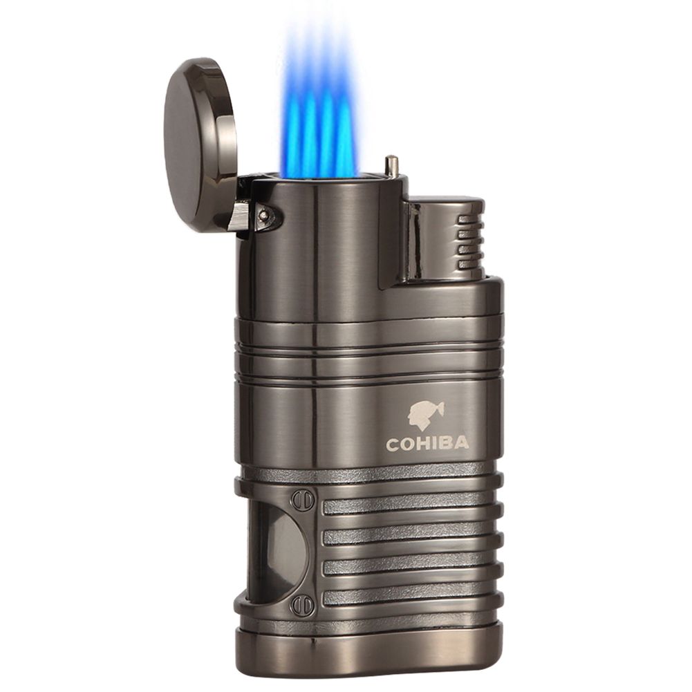 COHIBA Gadgets 4 Jet Torch Lighter Windproof Portable Cigar Lighter Butane Gas Cigarette Lighters With Cigar Punch Gift Box