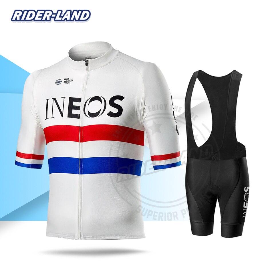 Spor ve Eğlence'ten Bisiklet Takımları'de Bisiklet seti yaz bisiklet takım elbise adam Pro takımı Ineos kısa kollu Squadra forması seti nefes döngüsü giyim triatlon Skinsuit title=