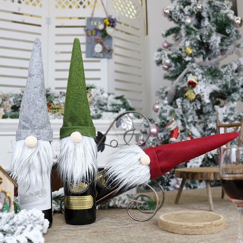 Champagne Cap Mini Bottle Set Packaging Hat Wine Bag Santa Claus Clothes Decoration Home Holiday Christmas Supplies Gifts