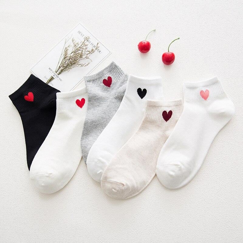 Simple Style Socks Pure Color Cute Heart Printing Women Socks Harajuku Cotton Soft Cozy Funny Socks Women Skarpetki Short Socks
