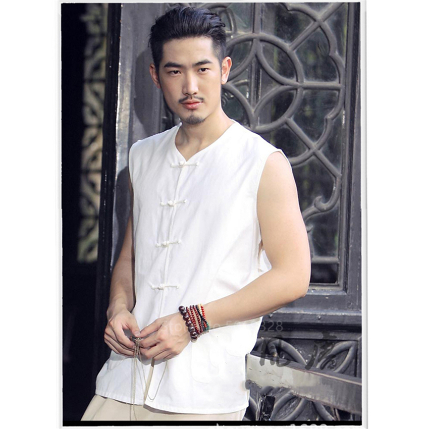 Мужской Хлопковый жилет без рукавов, с пряжкой и v-образным вырезом, повседневная одежда для кунг-фу
