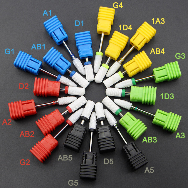 15 Type White Ceramic Nail Drill Bits Milling Cutter For Electric Drill Manicure Machine Accessory Nail Files Art Tools 1