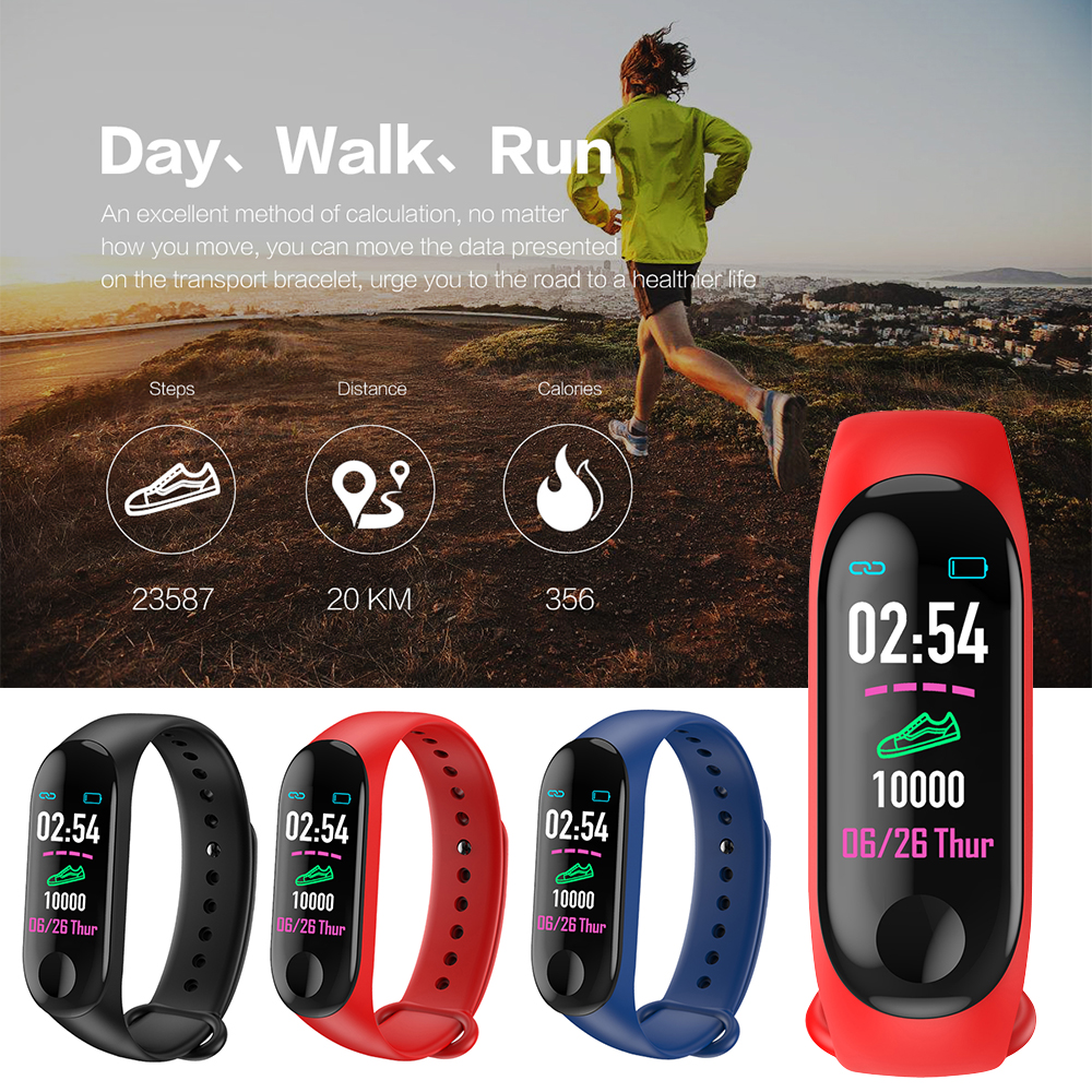 Image 5 - 2019 M3 plus Smart Bracelet Fitness Pedometer Watch Running Tracker Blood Pressure Heart Rate Monitor Sports Pedometer Band-in Pedometers from Sports & Entertainment