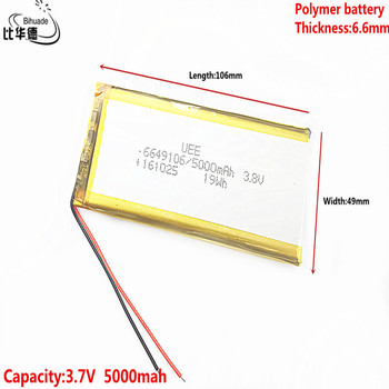 3.8V,5000mAH 6649106 Polymer lithium ion / Li-ion battery for tablet pc BANK,GPS,mp3,mp4 image