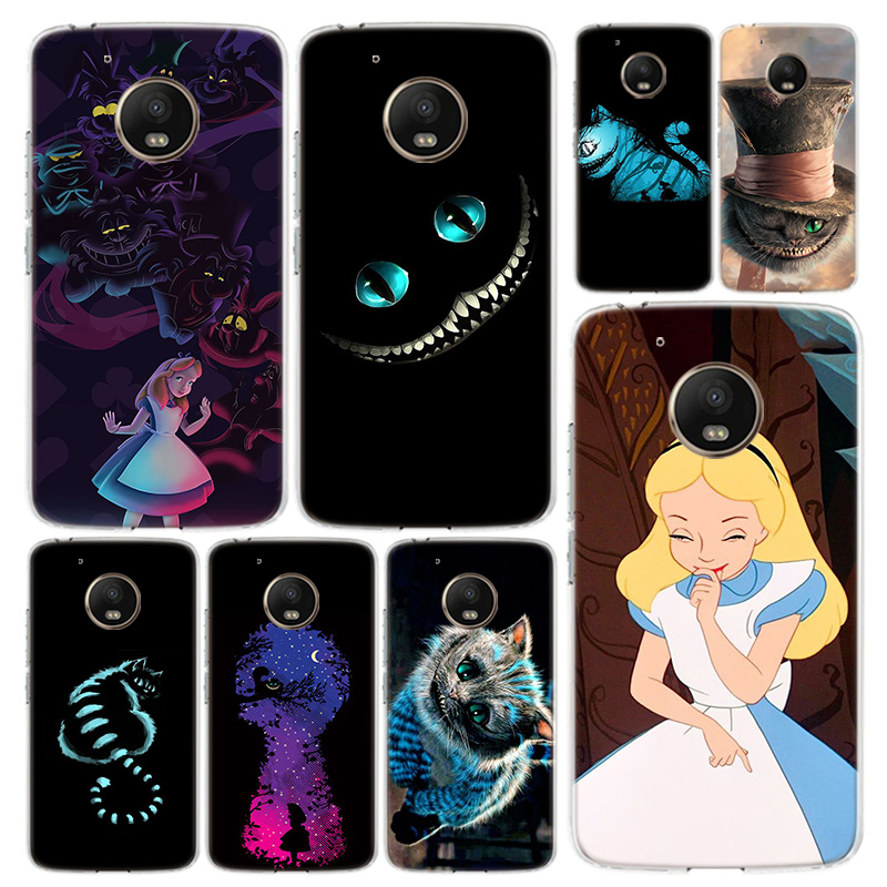 Alice In Wonderland Cat Phone Case Cover For Motorola Moto G8 G7 G6 G5 G5S G4 E6 E5 E4 Power Plus Play One Action Macro Vision C