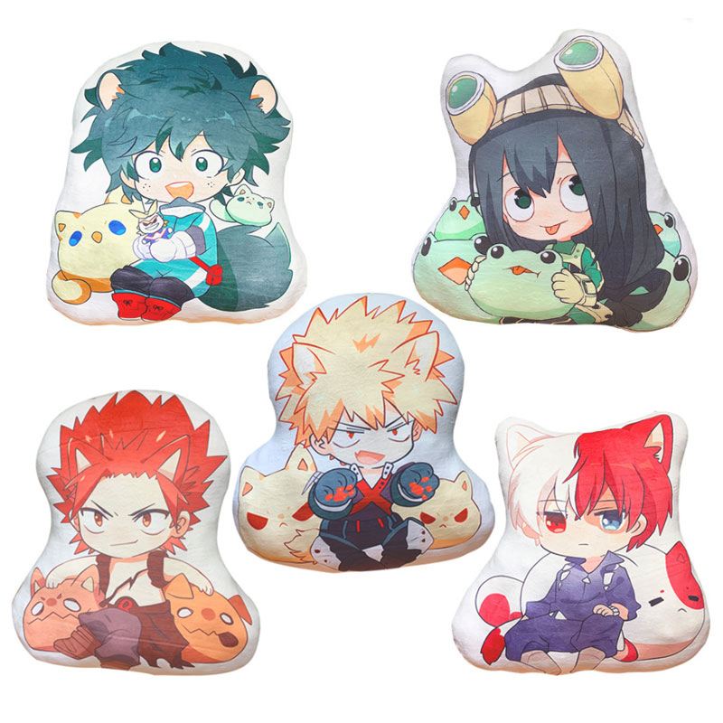42-45cm My Hero Academia Pillow Toy Anime Izuku Bakugou Todoroki Tsuyu Kirishima Eijiro Stuffed Doll Double Sided Case For Gift