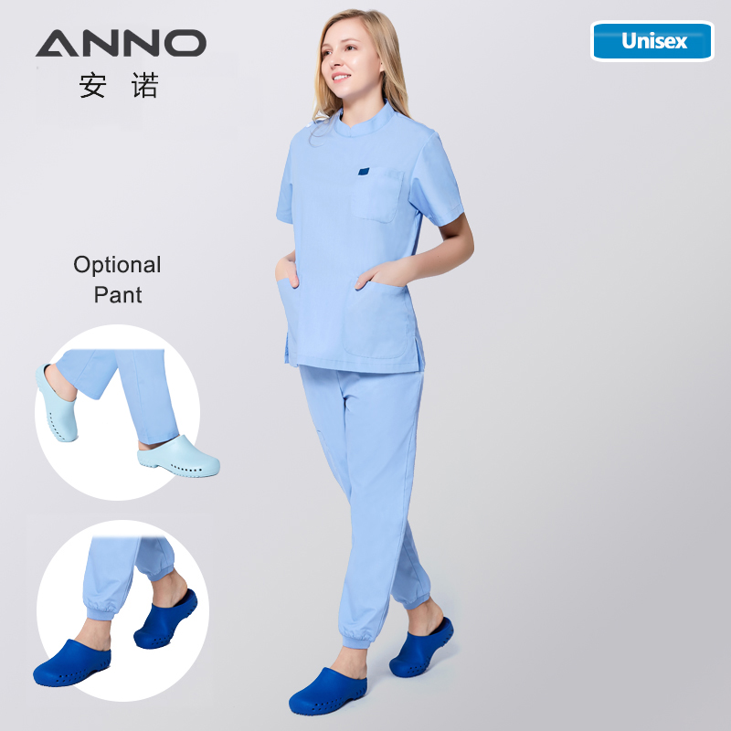 ANNO Nurse Uniform Clinical Clothes Surgical Gown Work Wear Hospital Doctor Form Medical Scrub Top Shrinking Pant