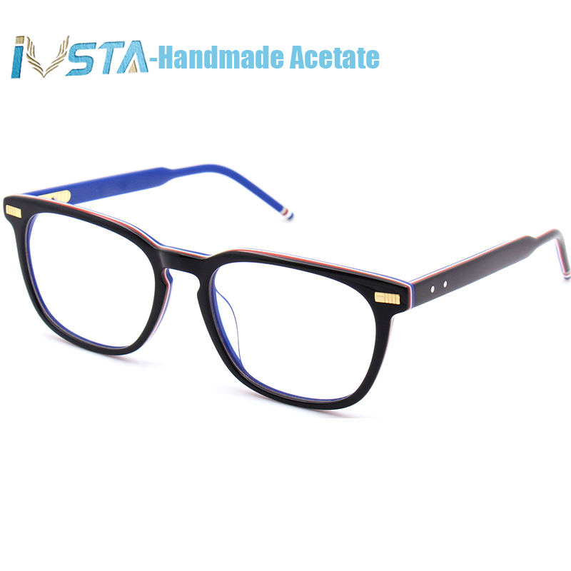 Image 2 - IVSTA Thom TB 402 404 Handmade Acetate Glasses Men Prescription Optical Frames Spectacle Square Tortoise  with Logo Luxury Brand-in Men's Eyewear Frames from Apparel Accessories